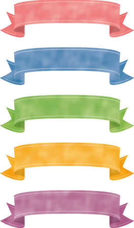 Cute arched ribbon image illustration (color variation)