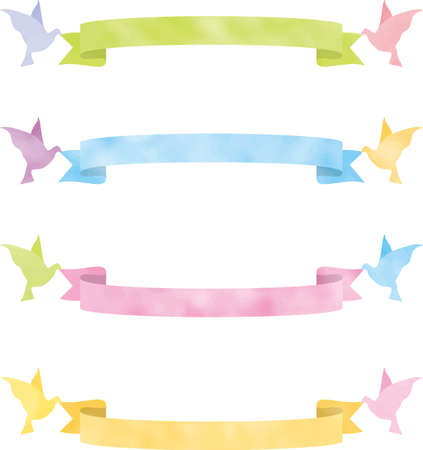 Cute arched ribbon image illustration (dove) (color variation)