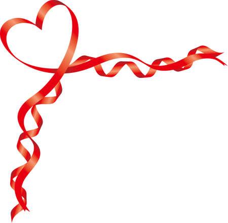 Heart-shaped ribbon image illustration (corner decoration)