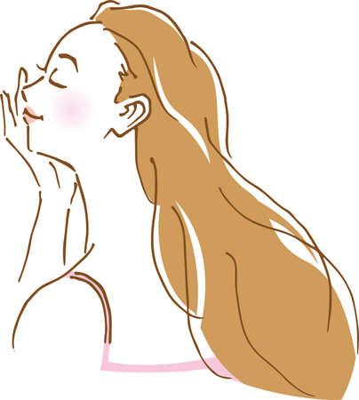 Image illustration of woman's profile with her hand on her face (hand drawn) Vektoros illusztráció