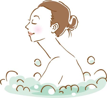 Image illustration of a woman in a bubble bath (hand drawn) Vektoros illusztráció