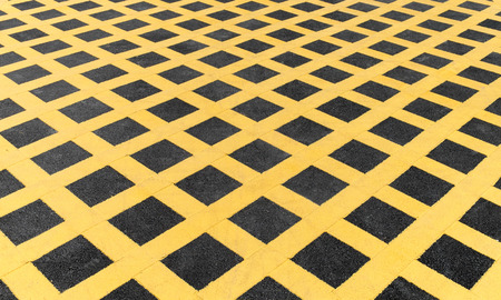 Yellow line on new asphalt detail photo