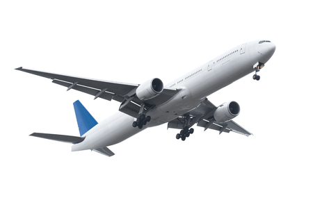 Commercial airplane on white background with clipping path Фото со стока