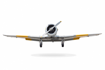 Old fighter plane isolated on white background with clipping path