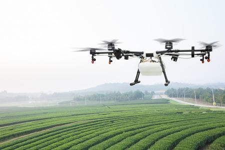 緑の茶畑で農業ドローン