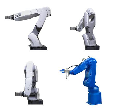 産業ロボットの分離の白い背景を設定