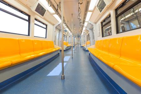 Empty interior of electric train cabin