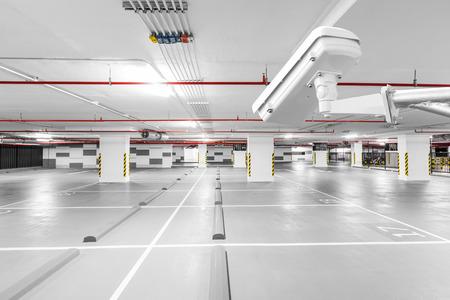 CCTV camera in underground parking garage Standard-Bild