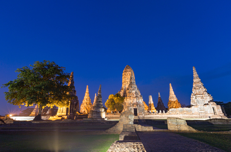 Wat Chaiwatthanaram at twilight in Ayutthaya, Thailand. Stock Photo