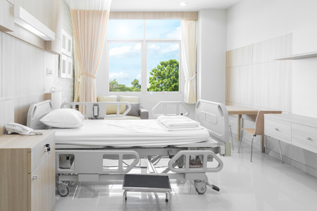 Hospital room with beds and comfortable medical equipped in a modern hospital Banco de Imagens