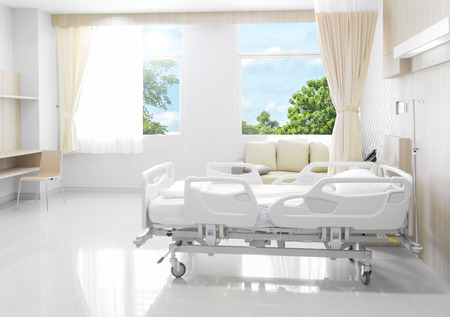 Hospital room with beds and comfortable medical equipped with natural background background