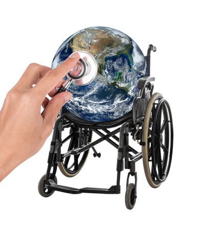 Globe in wheelchair with stethoscope representing the concept of protect and save environment Elements of this image furnished by NASA isolated on white background with clipping path