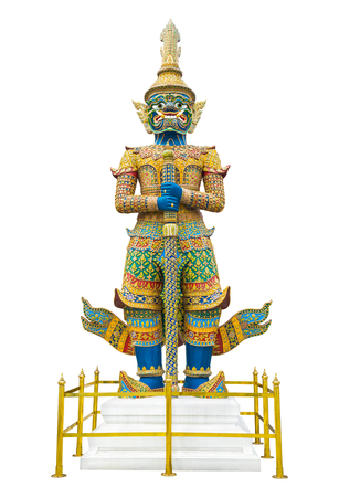 Giant guardian statue in Wat Phra Kaew Grand Palace Bangkok isolated on white background