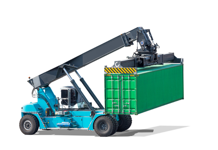 Forklifts truck container isolated on white background with clipping path Stock Photo