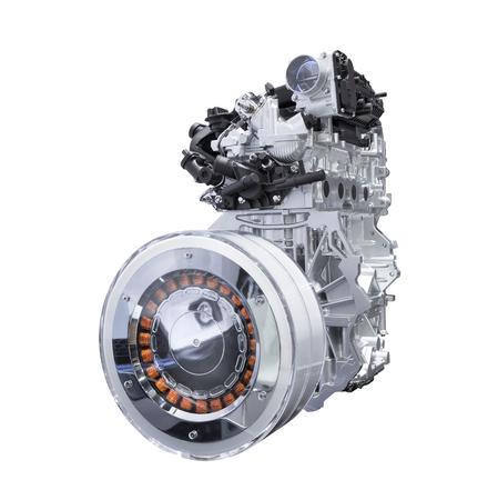 Hybrid car engine isolated on white background