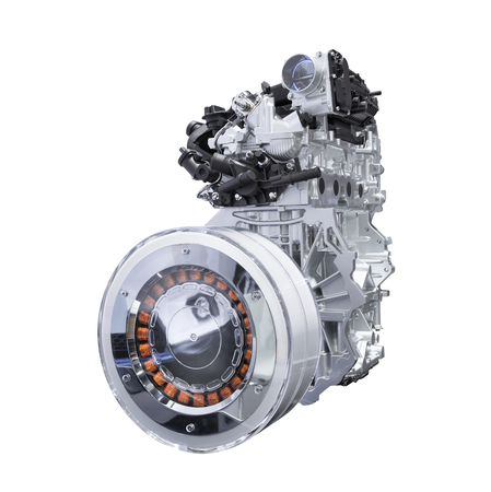 Hybrid car engine isolated on white background