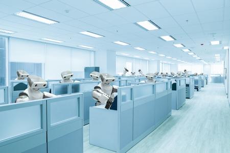 ロボット チーム オフィス代わりに人間、将来技術の概念で
