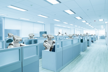 Robot team working in the office instead human, Future technology concept