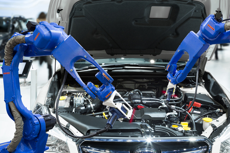 Automated robotic scanning automotive part engine in smart factory, Industry 4.0 concept