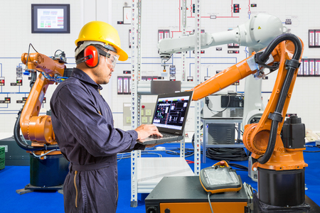 Engineer install and testing industry robotic in manufacturing of factory