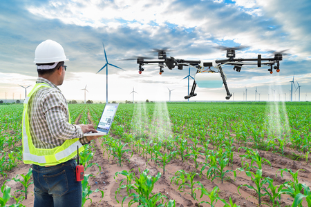 Technicus landbouwer gebruik wifi computer controle landbouw drone vliegen naar gespoten kunstmest op de maïs velden