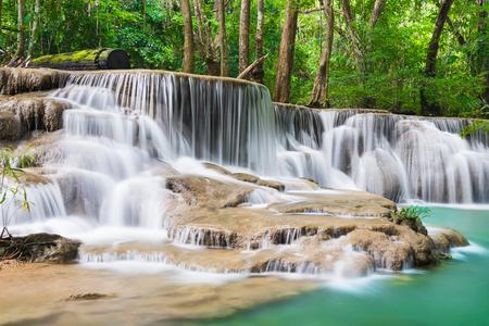 Huay Mae Kamin waterfall at Kanchanaburi, Thailand 写真素材