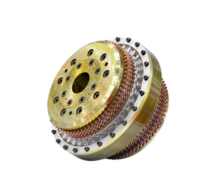 Automobile car gearbox with toothed wheels isolated on white background