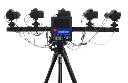360 degree camera with monitor on tripod isolated on white background