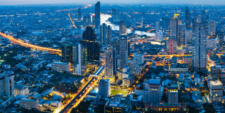 Panorama city at night, Bangkok Thailand Reklamní fotografie