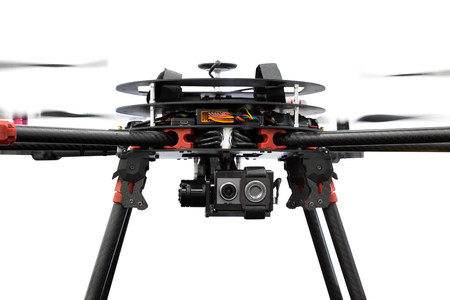Close up drone camera isolated on  background