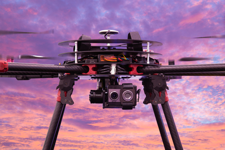 Close up drone camera on twilight sky