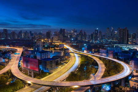 Bangkok expressway at night, Thailand