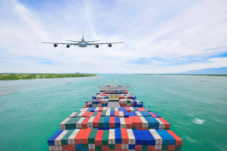Aerial view container cargo ship and commercial plane for transport and logistic import export concept Reklamní fotografie - 120534591