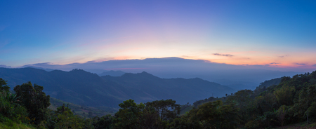 Mountain valley during twilight scene at Doi Pha Tung, Vieng Kaen, Chiangrai, Thailand