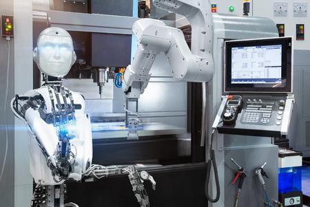 Control de robot humanoide industrial robótico automático con máquina CNC en fábrica inteligente. Concepto de tecnología futura