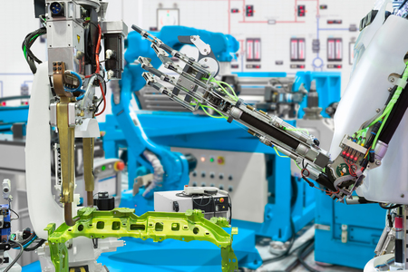 Robotic hand control robot industry in automotive manufacture, Future technology concept Imagens - 120583861