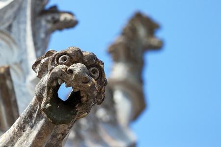 gargouille: Close-up d'une gargouille de sculptures antiques en arri�re-plan
