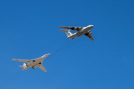 supersonic transport: The strategic bomber Tu-160  and tanker Il-78 aircraft in flight. Vicrory Day parade, Moscow, Russia, May 9 2016 Editorial