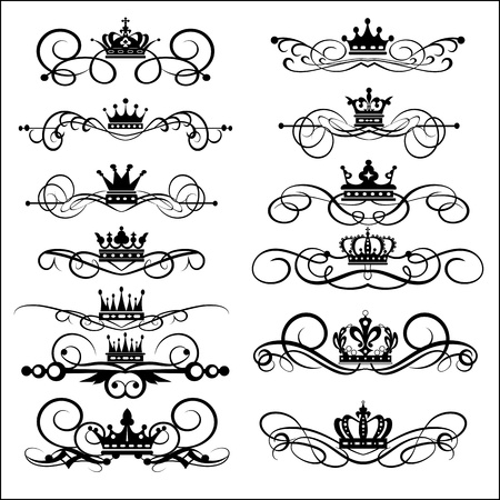 set  Victorian Scrolls and crown  Decorative elements  Vintage Vector