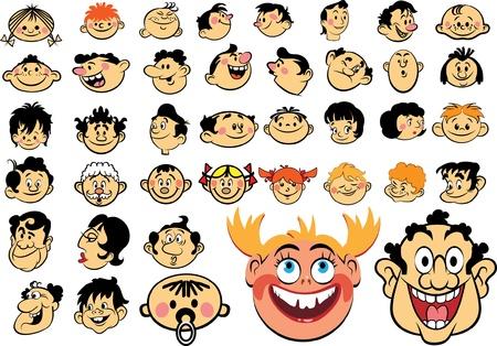 Mensen gezichten. Cartoon uitdrukkingen en emoties, avatar pictogrammen Vector Illustratie