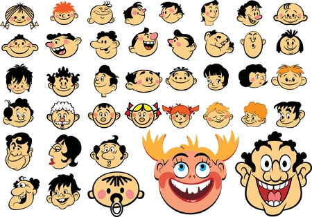 cartoon face: People faces. Cartoon expressions and emotions, avatar icons Illustration
