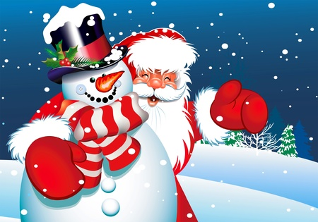 christmas backgrounds: Santa and snowman
