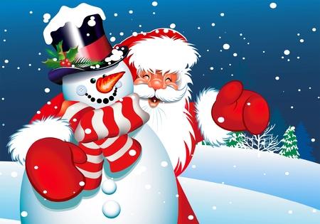 bonhomme de neige: Santa et Bonhomme de neige