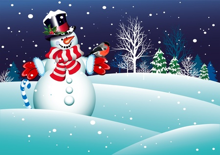 Christmas snowman for your design Stock Vector - 11085187
