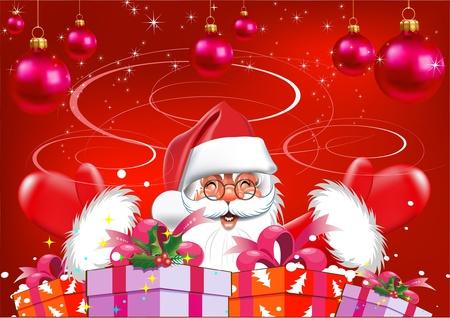 estrella caricatura: Navidad. Santa Claus con los regalos. Fondo rojo Vectores