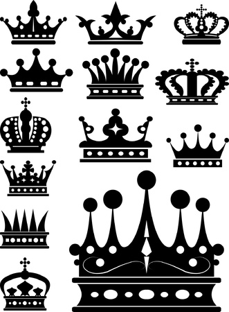 crown icon: Crown. Set of isolated symbols