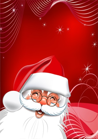 Santa Claus on Christmas Eve a red background