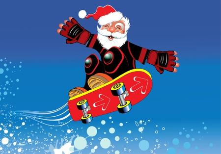 Santa Claus on a skateboard