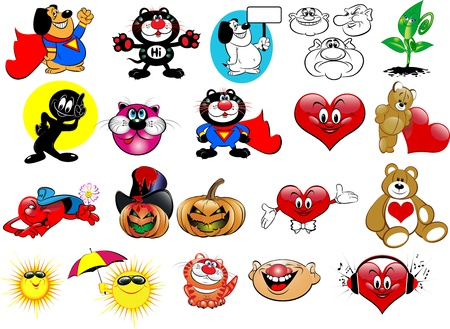 heart heat: Vector set cartoon. Funny pictures for your design