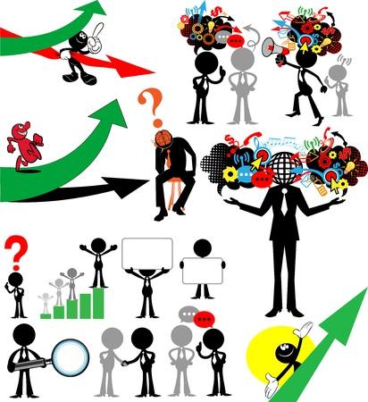 tasks: Vector set people. Communication. Businessman in Black
